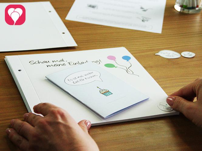 Klebe Einladungskarte Eintrittskarten und mehr ins balloonas Geburtstagsbuch - tolle Erinnerungen an die Party