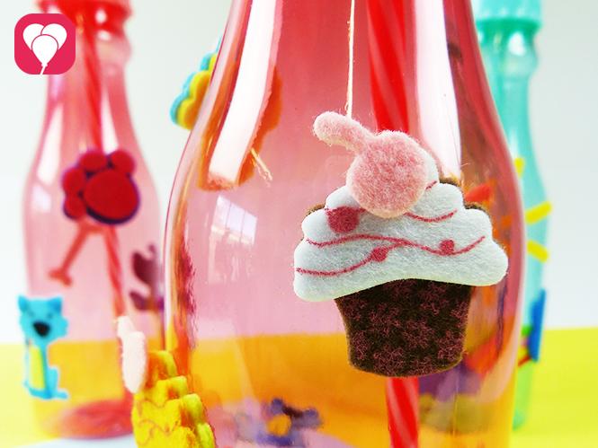 Trinkflaschen dekorieren mit lustigen Filz Stickern