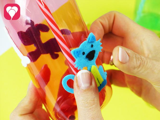 Trinkflaschen mit lustigen Filz Stickern dekorieren