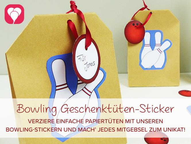 Bowling Geschenktüten Sticker