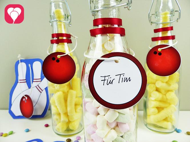 Bowling Give Aways - Glasflaschen als Bowling Pins verzieren und befüllen