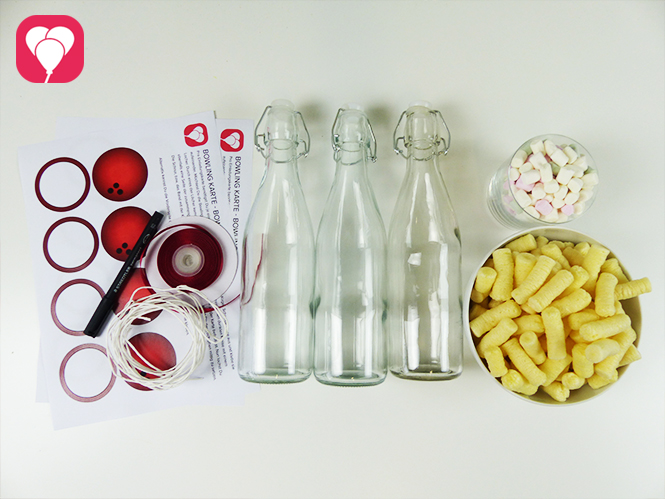 Bowling Give Aways aus Glasflaschen - Material
