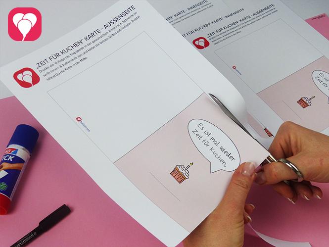 Es ist mal wieder Zeit für Kuchen - DIY Klappkarte - Vorlage ausschneiden