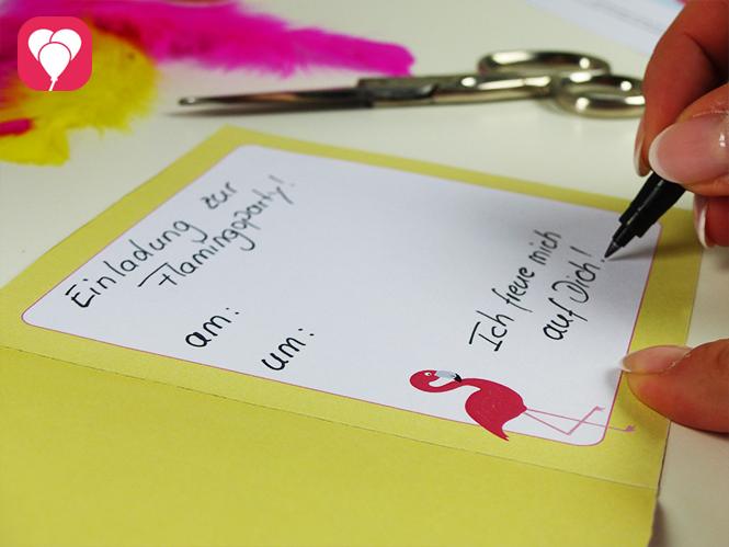 Flamingo Einladung - Karte beschriften