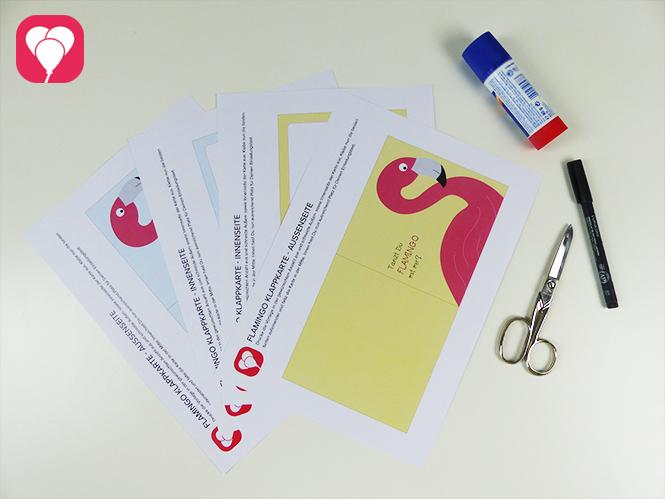 Flamingo Einladung - Vorlage und Zusatzmaterial