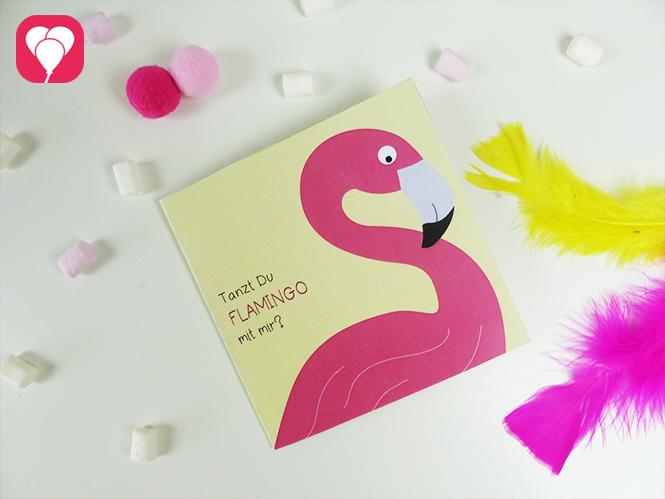 Flamingo Einladung in Gelb
