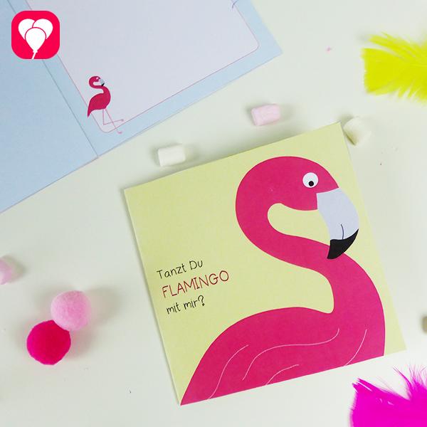 Flamingo Einladung mit praktischer Druckvorlage basteln