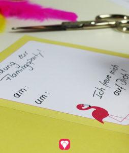 Flamingo Klappkarte - Einladungstext schreiben