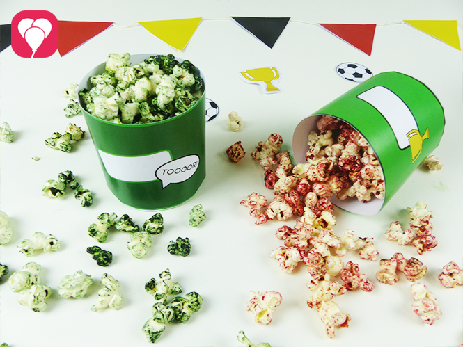Leckere WM Snacks - Buntes Popcorn für den Fussball Abend