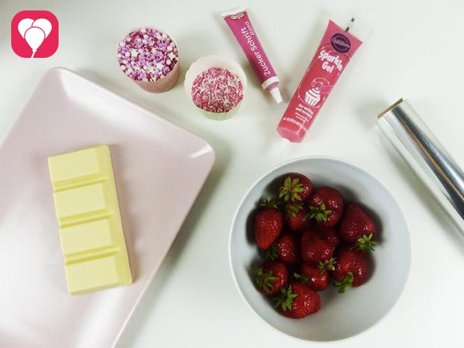 Schoko Erdbeeren verzieren - Zutaten