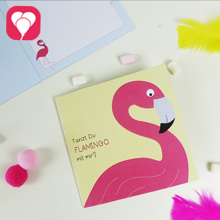 Sommerliche Flamingo Einladung in zwei verschiedenen Designs