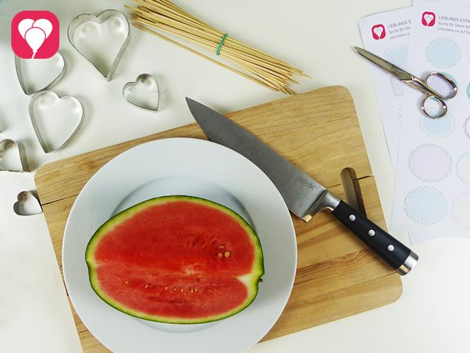 Zutaten für sommerliche Melonen Spiesse