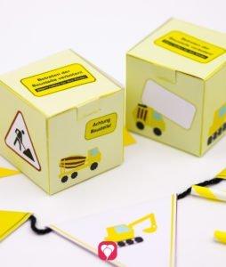 Bauarbeiter Geschenkboxen beim Baustellen Geburtstag