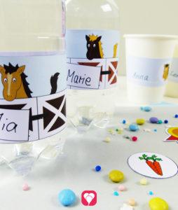 Pferde Flaschenetiketten und Becherschilder für Deinen Kindergeburtstag