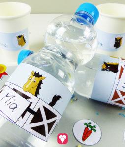 Pferde Flaschenetiketten und Becherschilder für den Pferde Geburtstag