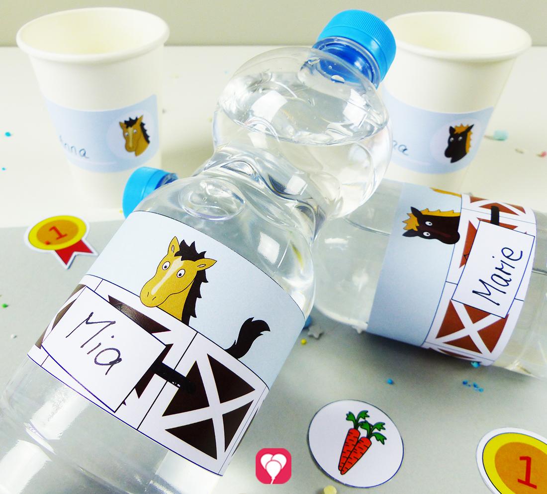 Pferde Flaschenetiketten und Becherschilder