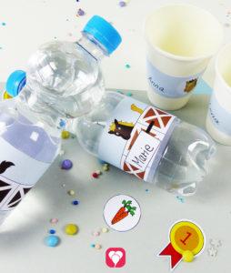 Pferde Flaschenetiketten und Becherschilder - so findet jedes Kind sein Getränk