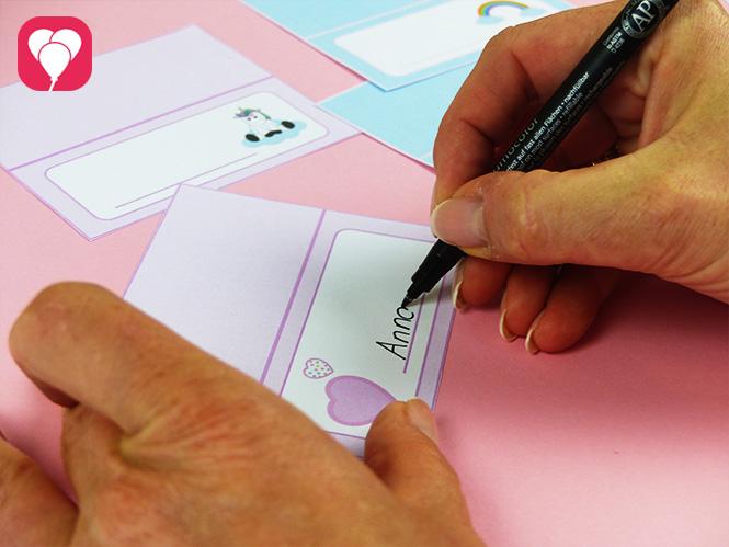 Einhorn Tischdeko - Tischkarten beschriften