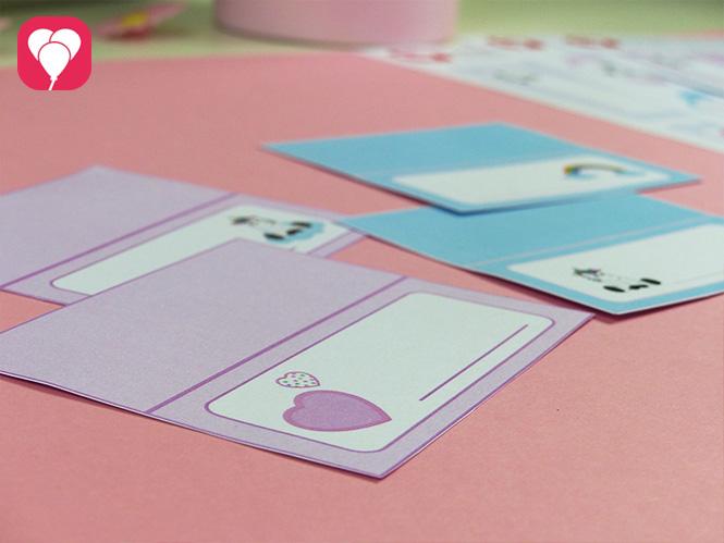 Einhorn Tischdeko - Tischkarten in Rosa und Blau