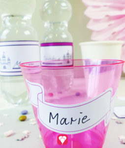 Märchenschloss Flaschenetiketten und Becherschilder für einen zauberhaften Kindergeburtstag