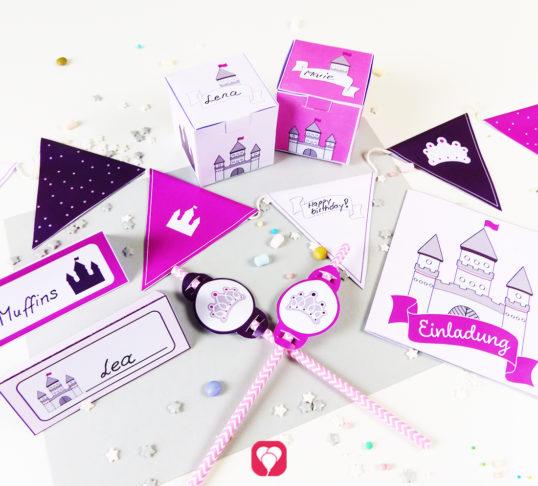 Von der Einladung über Deko bis zum Mitgebsel - Dein Märchenschloss Geburtstagspaket