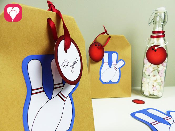 Kreatives Give Away - Bowling Geschenkanhänger für Papiertüten