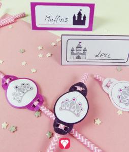Märchenschloss Tischkarten und Strohhalm-Deko für einen Prinzessinnen Tisch