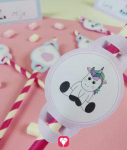 Einhorn Tischkarten und Strohhalm Deko für einen zauberhaften Mädchen Geburtstag