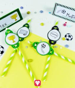 Fußball Tischkarten & Strohhalm Deko als Druckvorlage