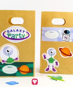 Weltraum Geburtstagspaket Basic - Geschenkaufkleber