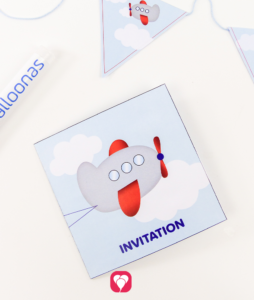 Airplane Card - balloonas