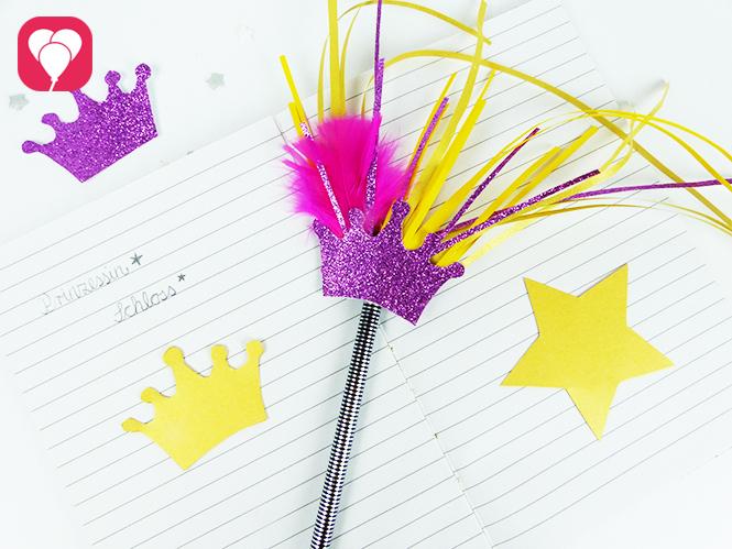 Glitzer Stifte als Zauberstab basteln