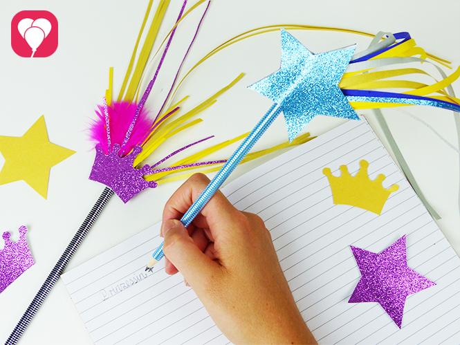 Hübscher Zauberstab Stift aus Bleistiften und viel Glitzer