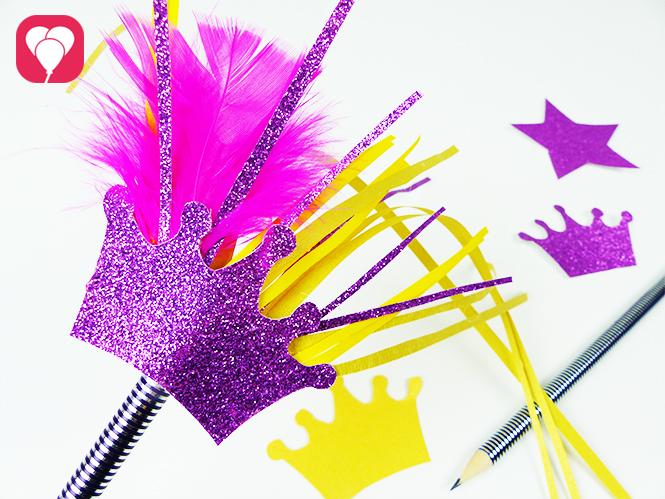 Mach aus einfachen Bleistiften huebsche Zauberstäbe für kleine Prinzessinnen