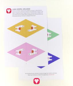 Lama Wimpelkette Vorlage zum Download mit verschiedenen Motiven
