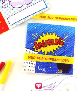 Superhelden Einladungskarte - balloonas