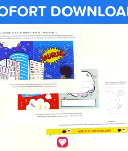 Superhelden Einladungskarte - Vorlage als Download