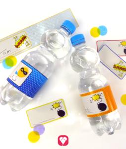 Deine fertigen Superhelden Flaschenetiketten und Becherschilder