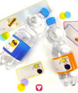 Superhelden Flaschenetiketten und Becherschilder -balloonas