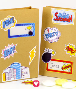 Superhelden Geburtstagspaket Basic - Geschenkaufkleber