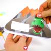 Dino Einladungskarte - Außenseite zusammenkleben