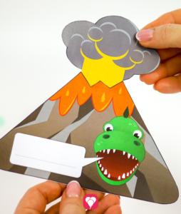 Dino Einladungskarte - Innenseite in Außenseite schieben