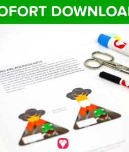 Dino Einladungskarte als Sofort Download