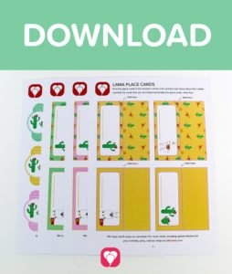 Llama Place Cards and Straws - Download