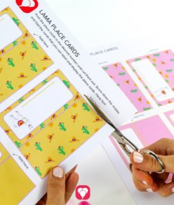Llama Place Cards and Straws - cut out place cards