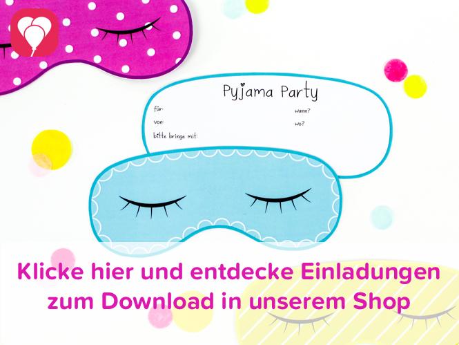 Pyjama Party Einladung im balloonas Shop