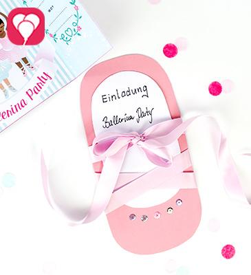 Ballerina Einladung selbst machen mit Bastelanleitung - balloonas