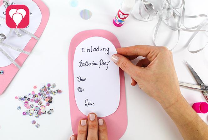 Ballerina Einladung selbst machen - Einladungstext schreiben