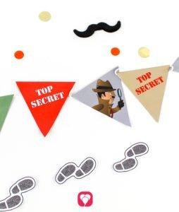 Girlande im Detektiv Geburtstagspaket