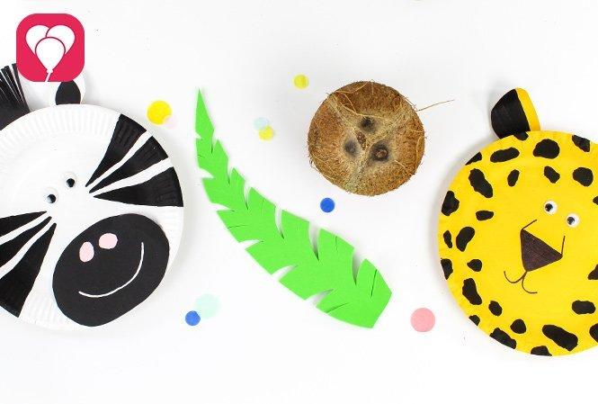 Kokosnuss Kegeln beim Safari Kindergeburtstag tierische Masken